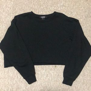 Sweaters - Black Oversized Cropped Thick Sweater